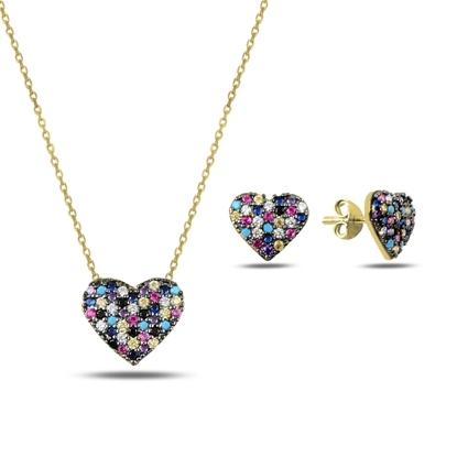 Resim Altın Kaplama Karışık Renk Zirkon Taşlı Kalp Gümüş Bayan Set