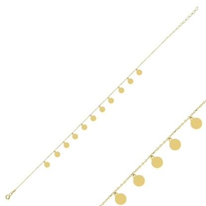 Resim Altın Kaplama Sallantılı Pullu Halhal