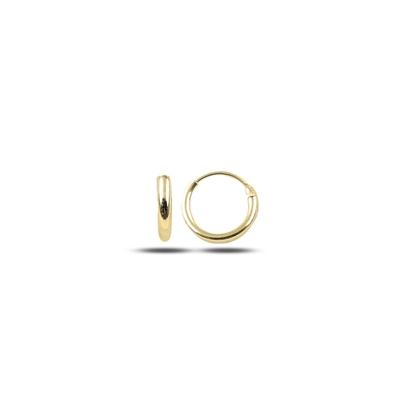 Resim Altın Kaplama 10mm Sade Halka Gümüş Küpe