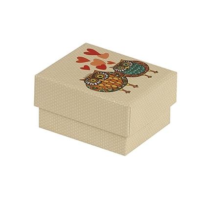 Resim Kalpli Baykuş Kolye ve Yüzük Karton Hediye Kutusu