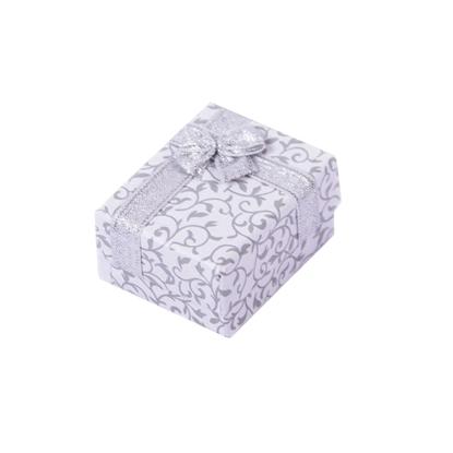 Resim Beyaz Renk Fiyonklu Motifli Kolye ve Yüzük Karton Hediye Kutusu