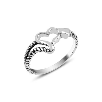Resim Kalpli Taşsız Gümüş Bayan Yüzük
