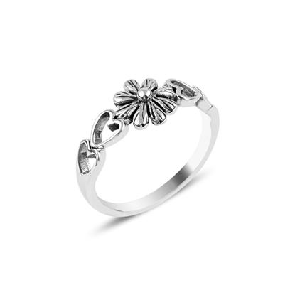 Resim Çiçek & Kalp Taşsız Gümüş Bayan Yüzük
