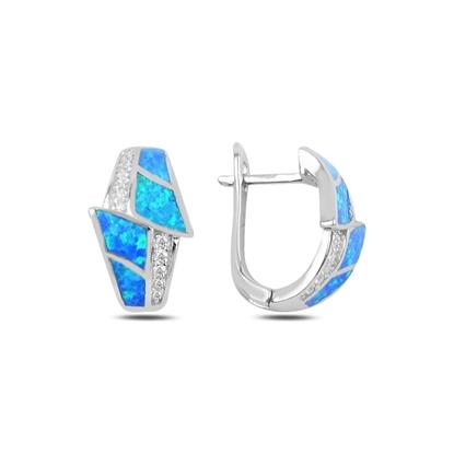 Resim Opal & Zirkon Taşlı Gümüş J Küpe
