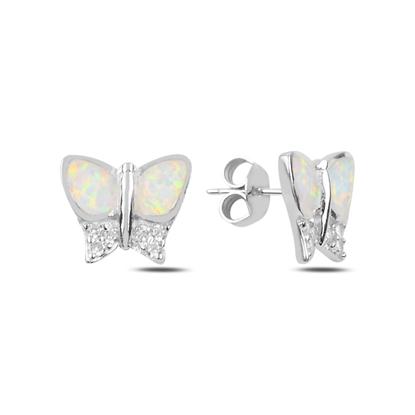 Resim Rodyum Kaplama Opal & Zirkon Taşlı Kelebek Gümüş Küpe