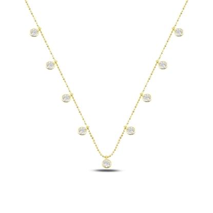 Resim Altın Kaplama Yuvarlak Zirkon Taşlı Sallantılı Gümüş Bayan Kolye