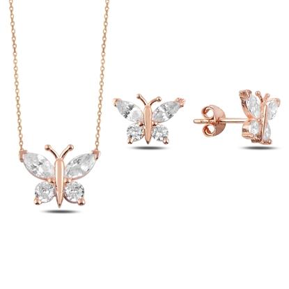Resim Rose Kaplama Zirkon Taşlı Kelebek Gümüş Bayan Set