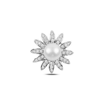 Resim İnci & Zirkon Taşlı Çiçek Gümüş Bayan Kolye Ucu
