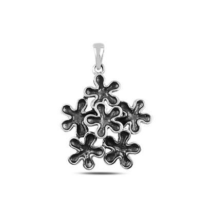 Resim Çiçek Gümüş Bayan Kolye Ucu