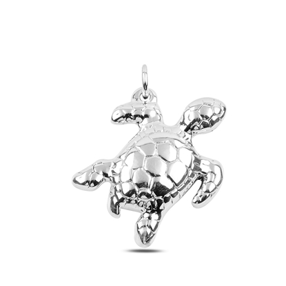 Resim Su Kaplumbağası Elektroform Gümüş Bayan Kolye Ucu