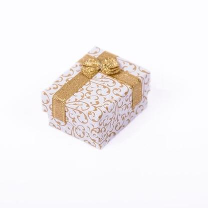 Resim Altın Renk Fiyonklu Motifli Kolye ve Yüzük Karton Hediye Kutusu