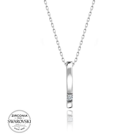 Ürün resmi: Swarovski Zirkon Taşlı Tektaş Gümüş Bayan Kolye