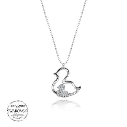 Resim Swarovski Zirkon Taşlı Ördek Gümüş Bayan Kolye