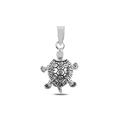 Resim Hareketli Kaplumbağa Gümüş Bayan Kolye Ucu