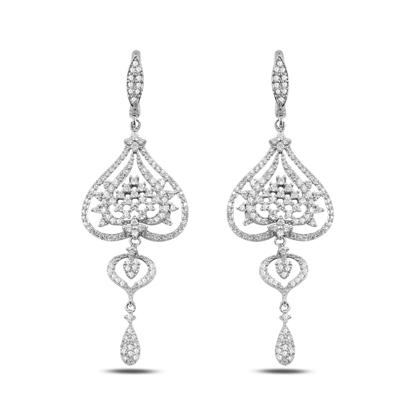 Resim Zirkon Taşlı Gümüş Sallantılı Küpe