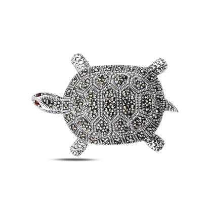 Resim Kaplumbağa Markazit Taşlı Gümüş Broş & Gümüş Bayan Kolye Ucu