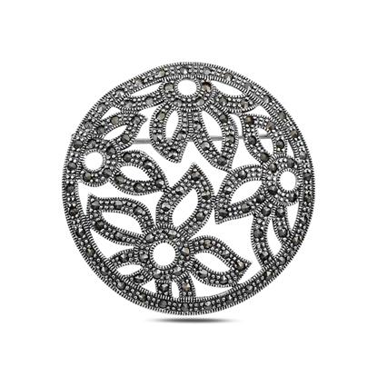 Resim Çiçek Desenli Markazit Taşlı Gümüş Broş