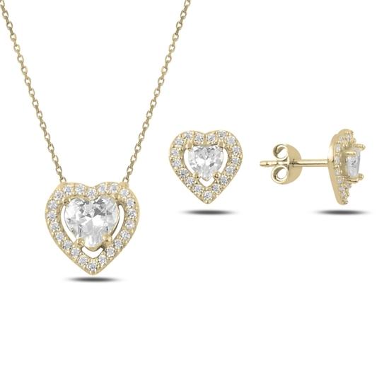 Ürün resmi: Altın Kaplama Kalp Zirkon Taşlı Tektaş Gümüş Bayan Set