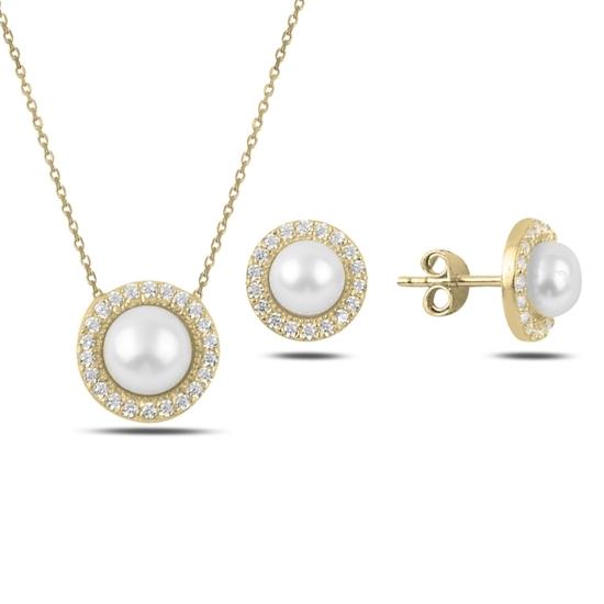 Ürün resmi: Altın Kaplama İnci & Zirkon Taşlı Gümüş Bayan Set