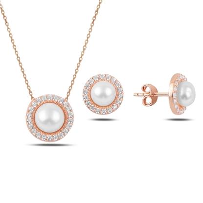 Resim Rose Kaplama İnci & Zirkon Taşlı Gümüş Bayan Set