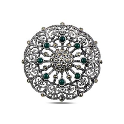 Resim Yeşil Akik Markazit Taşlı Gümüş Broş & Gümüş Bayan Kolye Ucu