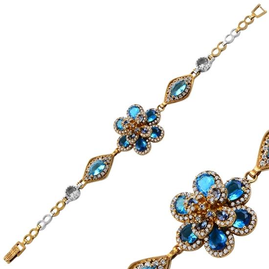 Ürün resmi: Akuamarin Zirkon (Açık Mavi) Zirkon Taşlı Otantik Gümüş Bayan Bileklik