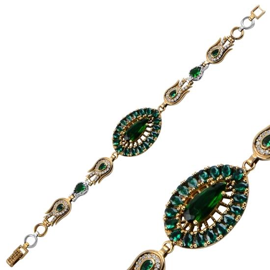 Ürün resmi: Zümrüt Zirkon (Yeşil) Zirkon Taşlı Otantik Gümüş Bayan Bileklik
