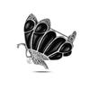 Ürün resmi: Oniks (Siyah Doğal Taş) Kelebek Doğal Taş & Markazit Taşlı Gümüş Broş