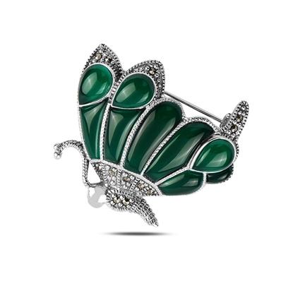 Resim Yeşil Akik Kelebek Doğal Taş & Markazit Taşlı Gümüş Broş