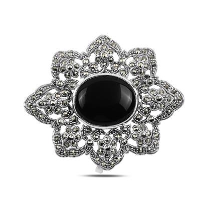 Resim Oniks (Siyah Doğal Taş) Doğal Taş & Markazit Taşlı Gümüş Broş & Gümüş Bayan Kolye Ucu