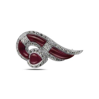 Resim Kırmızı Akik Doğal Taş & Markazit Taşlı Gümüş Broş