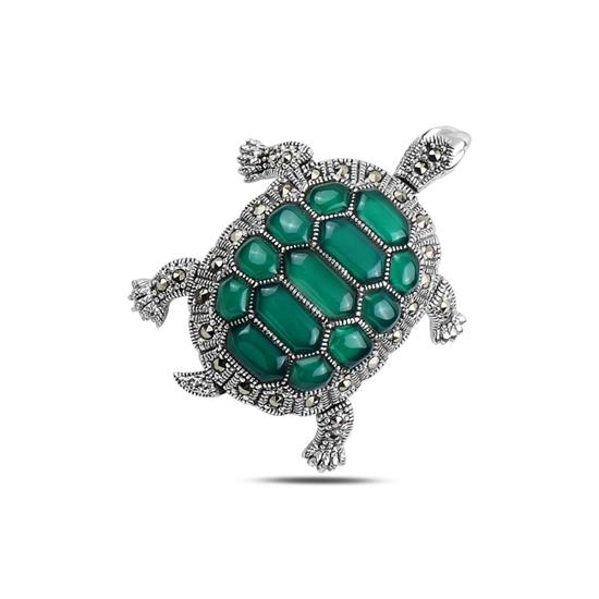 Ürün resmi: Yeşil Akik Kaplumbağa Doğal Taş & Markazit Taşlı Gümüş Broş & Gümüş Bayan Kolye Ucu