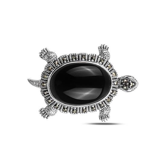 Ürün resmi: Oniks (Siyah Doğal Taş) Kaplumbağa Doğal Taş & Markazit Taşlı Gümüş Broş & Gümüş Bayan Kolye Ucu