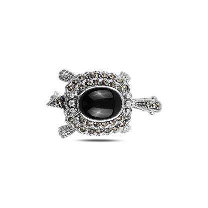 Resim Oniks (Siyah Doğal Taş) Kaplumbağa Doğal Taş & Markazit Taşlı Gümüş Broş