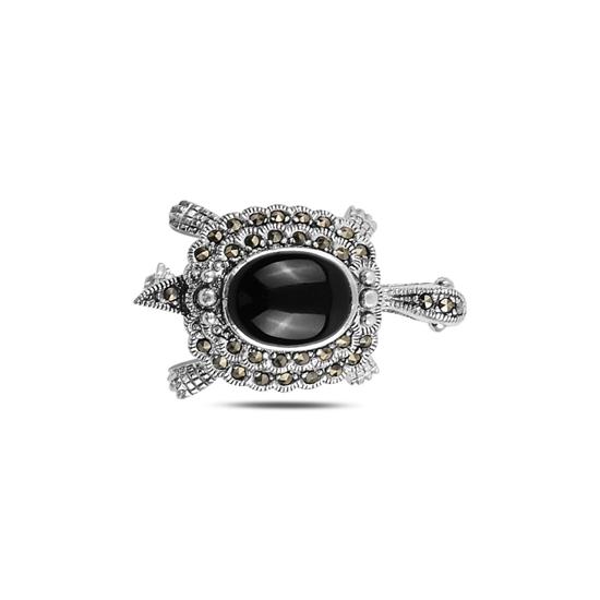 Ürün resmi: Oniks (Siyah Doğal Taş) Kaplumbağa Doğal Taş & Markazit Taşlı Gümüş Broş