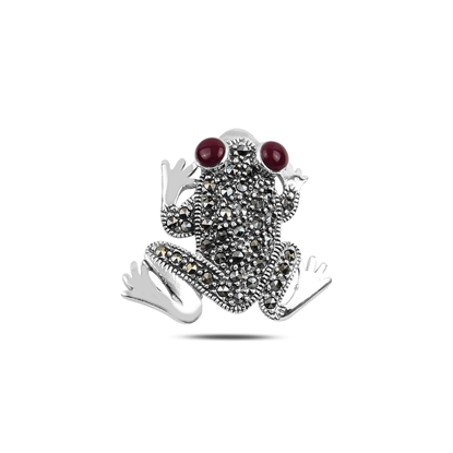 Resim Kırmızı Akik Kurbağa Doğal Taş & Markazit Taşlı Gümüş Broş