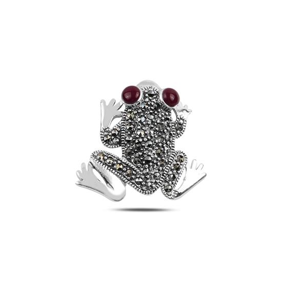 Ürün resmi: Kırmızı Akik Kurbağa Doğal Taş & Markazit Taşlı Gümüş Broş