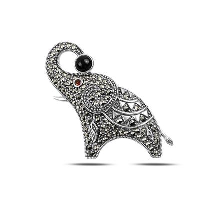 Resim Oniks (Siyah Doğal Taş) Fil Doğal Taş & Markazit Taşlı Gümüş Broş & Gümüş Bayan Kolye Ucu