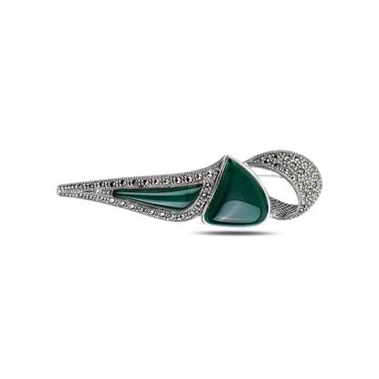 Resim Yeşil Akik Doğal Taş & Markazit Taşlı Gümüş Broş
