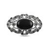 Ürün resmi: Oniks (Siyah Doğal Taş) Doğal Taş & Markazit Taşlı Gümüş Broş