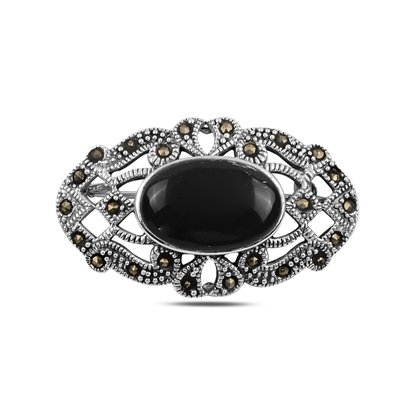 Resim Oniks (Siyah Doğal Taş) Doğal Taş & Markazit Taşlı Gümüş Broş