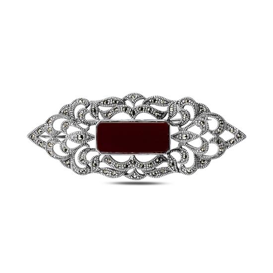 Ürün resmi: Sedef Doğal Taş & Markazit Taşlı Gümüş Broş & Gümüş Bayan Kolye Ucu