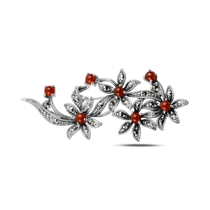 Resim Kırmızı Akik Doğal Taş & Markazit Taşlı Gümüş Broş & Gümüş Bayan Kolye Ucu