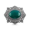 Ürün resmi: Yeşil Akik Doğal Taş & Markazit Taşlı Gümüş Broş & Gümüş Bayan Kolye Ucu