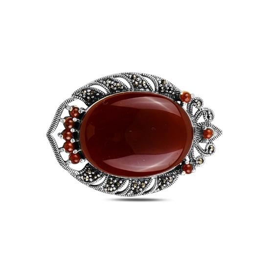 Ürün resmi: Kırmızı Akik Doğal Taş & Markazit Taşlı Gümüş Broş