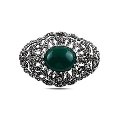 Resim Yeşil Akik Doğal Taş & Markazit Taşlı Gümüş Broş & Gümüş Bayan Kolye Ucu