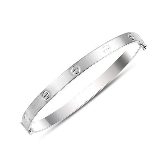 Ürün resmi: Rodyum Kaplama Taşsız Gümüş Bilezik