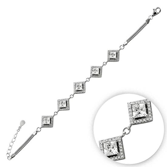 Ürün resmi: Ametist Zirkon (Mor) Zirkon Taşlı Gümüş Bayan Bileklik