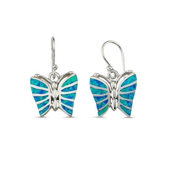 Ürün resmi: Beyaz Opal Opal Taşlı Kelebek Gümüş Küpe