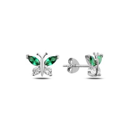 Resim Zümrüt Zirkon (Yeşil) Renkli Zirkon Taşlı Kelebek Gümüş Küpe